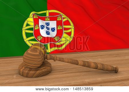 Portuguese Law Concept - Flag Of Portugal Behind Judge's Gavel 3D Illustration