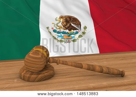 Mexican Law Concept - Flag Of Mexico Behind Judge's Gavel 3D Illustration