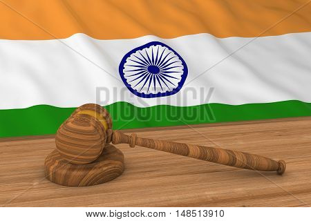 Indian Law Concept - Flag Of India Behind Judge's Gavel 3D Illustration