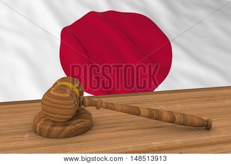 Japanese Law Concept - Flag Of Japan Behind Judge's Gavel 3D Illustration