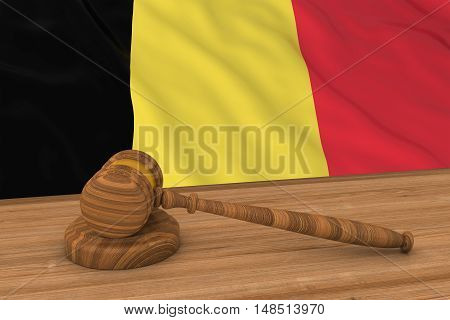 Belgian Law Concept - Flag Of Belgium Behind Judge's Gavel 3D Illustration