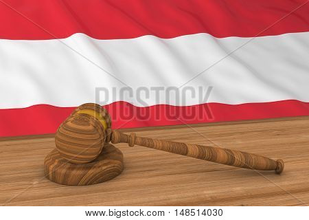 Austrian Law Concept - Flag Of Austria Behind Judge's Gavel 3D Illustration