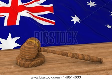 Australian Law Concept - Flag Of Australia Behind Judge's Gavel 3D Illustration