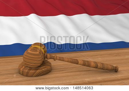 Netherlands Law Concept - Flag Of Holland Behind Judge's Gavel 3D Illustration