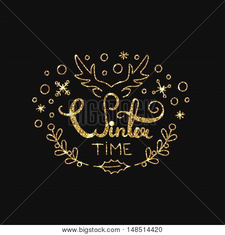 Winter Golden Lettering Design. Typographic Background with Christmas Greetings. Line Art Style Vector Illustration. Shiny gold glitter print with quote for housewarming items.