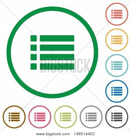 Set of unordered list color round outlined flat icons on white background