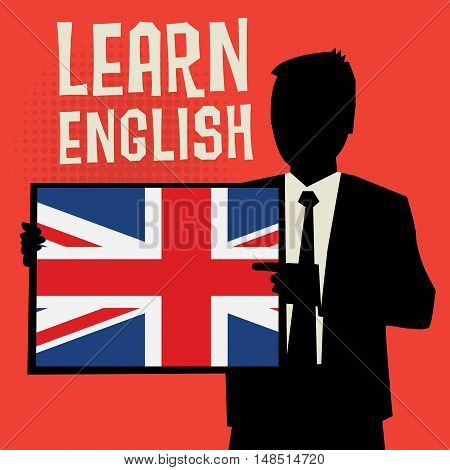 Man showing board business concept with text Learn English vector illustration