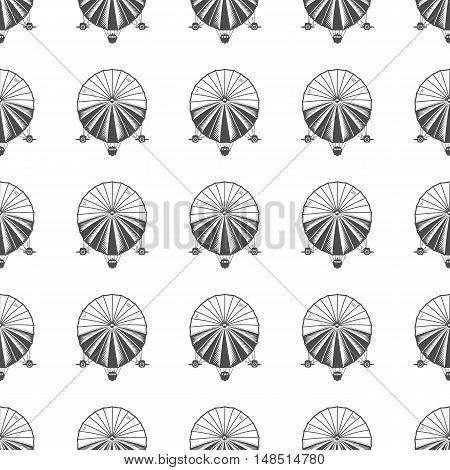 Vintage airship seamless pattern. Retro Dirigible wallpaper design. Old sketching style. Vector