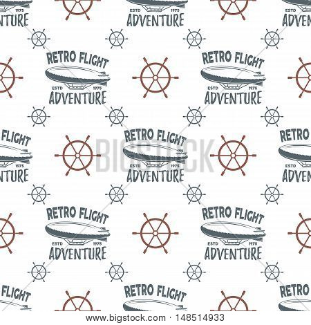 Vintage airship seamless pattern. Retro Dirigible wallpaper design with steering wheel and typography elements. Old sketching style. Aeronautic transport old style. Vector background.