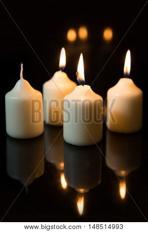 Third Sunday In Advent, Candles With Black Background