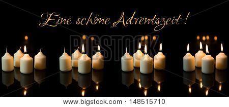 Panorama, Advent Season With A Lot Of Candles, German Text