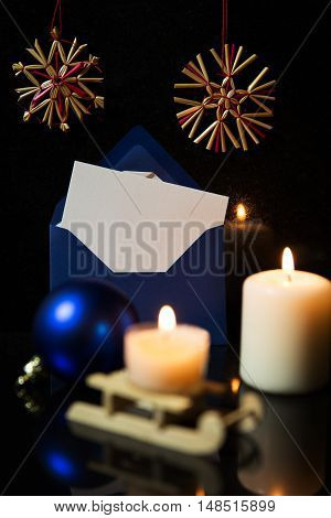Festive Christmas Card With Balls, Sledge, Candles And Envelope