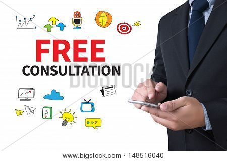 FREE CONSULTATION businessman working use smartphone businessman working