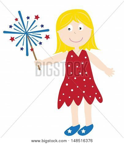 4th of July Girl with Firework Sparkler