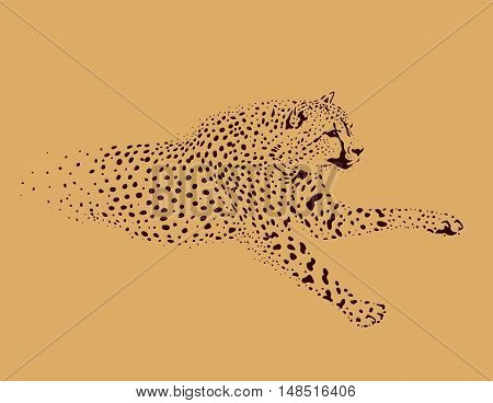 figure running Leopard on a beige background
