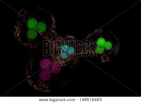 blue green pink nucleus of color molecules with electric links 3d render