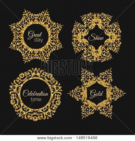 Vector gorden glitter frame. Vintage gold frames illustration. Gold banner with sparkles. Luxury frame with glowing effect. Shiny decorative elements design.