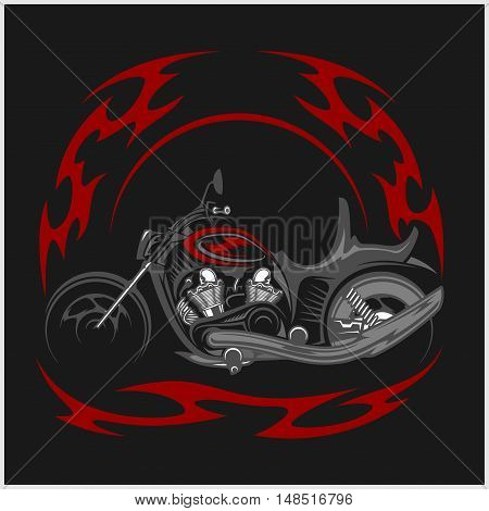 Flaming Bike - Retro Chopper and tribal flame on black background