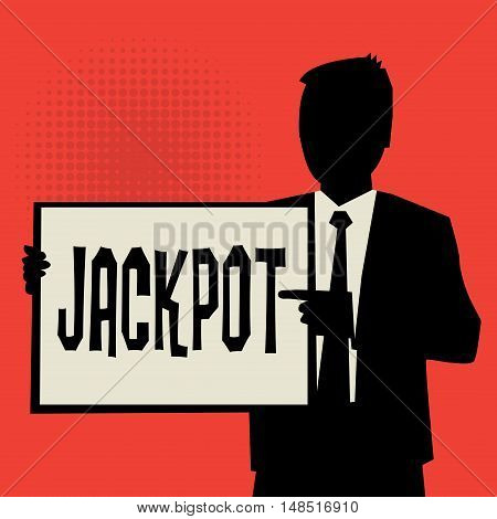 Man showing board business concept with text Jackpot vector illustration