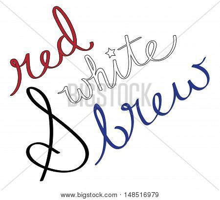 Isolated Red White and Brew Cursive Calligraphy