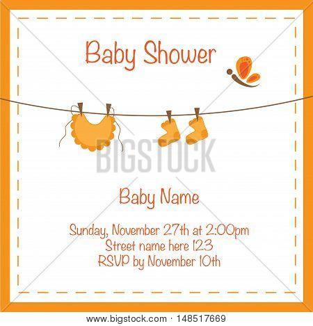 Cute Orange Baby Shower Invite Invitation Announcement