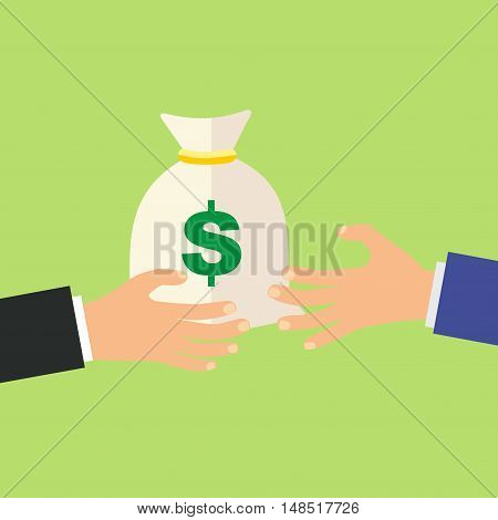 Hand giving money bag to another hand, payment, credit, loan, banking poster illustration isolated on green background, cartoon flat design image