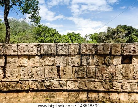 Ancient wall with inscriptions of the Maya
