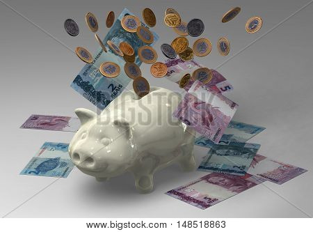 Piggy bank with coins and banknotes 3D rendering illustration