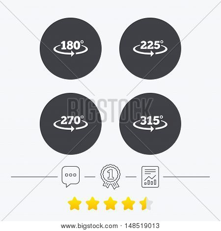 Angle 180-315 degrees icons. Geometry math signs symbols. Full complete rotation arrow. Chat, award medal and report linear icons. Star vote ranking. Vector