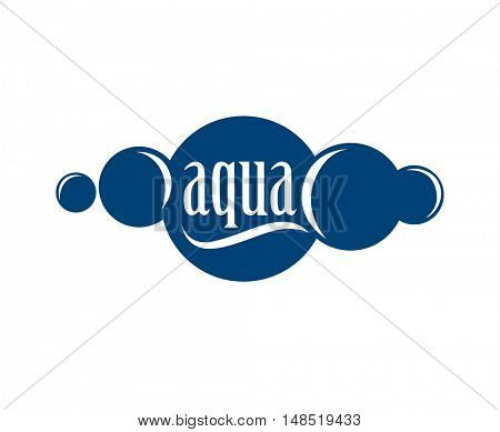 Blue logo . Label for mineral water. Aqua icon . Vector Illustration isolated on white background