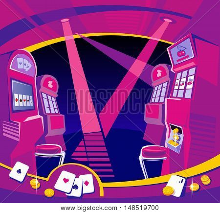 Interior casino - slot machines chairs light projectors. Gold coins playing-cards fly. Design concept for gambling luck and successful play. Vector flat illustrations