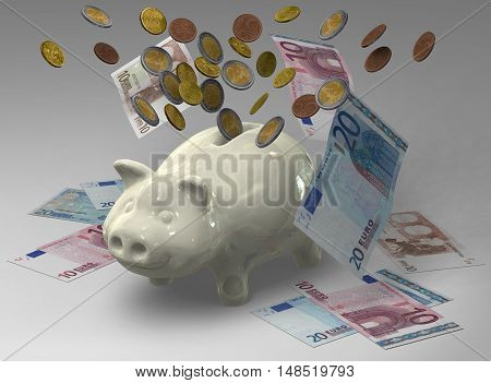 3D Piggy bank with coins and banknotes