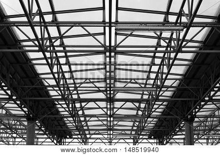 The design of the roof ceiling of the metal space frame and glass filling. Symmetric perspective view.
