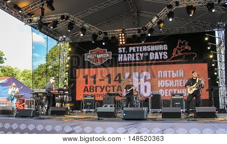 St. Petersburg, Russia - 12 August, Rock band on the festival Harley Davidson,12 August, 2016. Pop and rock musicians on Harley Davidson festival in St. Petersburg.