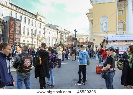 St. Petersburg, Russia - 12 August, People on Ostrovsky Square,12 August, 2016. The annual International Festival of Motor Harley Davidson in St. Petersburg Ostrovsky Square.