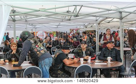 St. Petersburg, Russia - 12 August, Cafe for bikers,12 August, 2016. The annual International Festival of Motor Harley Davidson in St. Petersburg Ostrovsky Square.