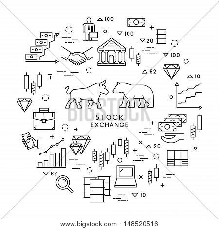 Vector line concept stock exchange. Linear modern banner stock market. Open path.