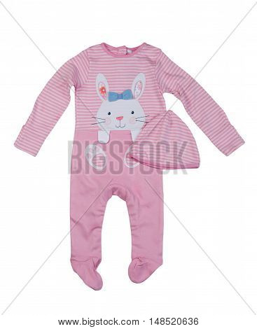 Pink rompers with rabbit pattern. Isolate on white.