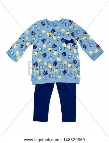 Baby clothing set. Blue jacket and pants. Isolate on white.