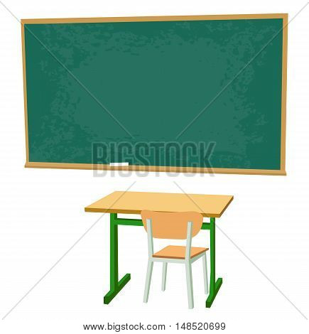 School desk chipboard and a chair. Vector flat color illustration isolated on white background.