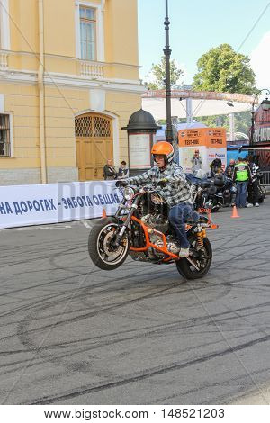 St. Petersburg, Russia - 12 August, Start from a place biker,12 August, 2016. The annual International Festival of Motor Harley Davidson in St. Petersburg Ostrovsky Square.