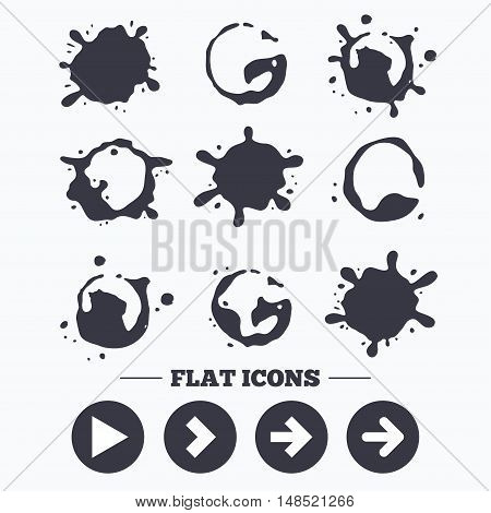 Paint, coffee or milk splash blots. Arrow icons. Next navigation arrowhead signs. Direction symbols. Smudges splashes drops. Vector