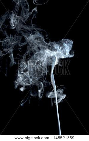 Abstract silky smoke isolated on white background motion, swirl