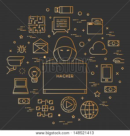 Gold concept of hacking and internet crimes. Hackers and cyber criminals online. Open path.