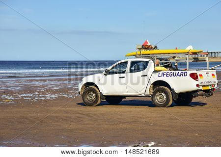 Lifeguard rescue car on the beach in Whitby.