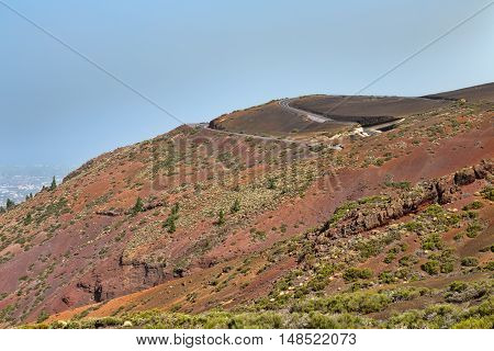 The road to the volcano Teide Canary Islands Spain.