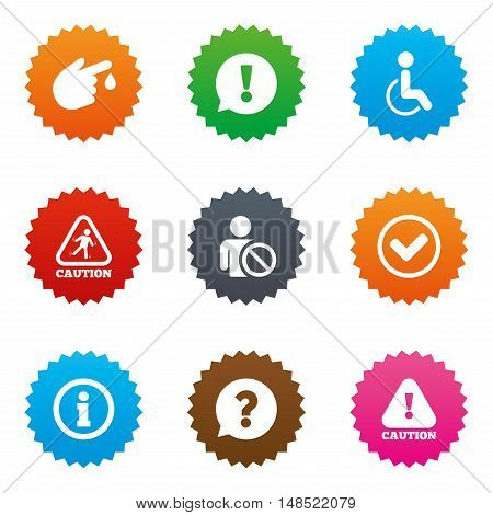Caution and attention icons. Question mark and information signs. Injury and disabled person symbols. Stars label button with flat icons. Vector