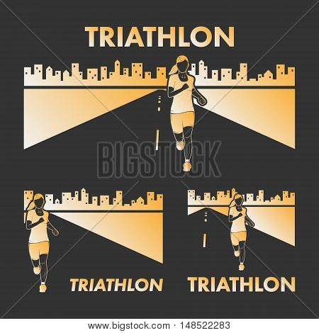 Vector gold logo triathlon. Figures triathletes on a black background. Swimming cycling and running symbol. Open path.