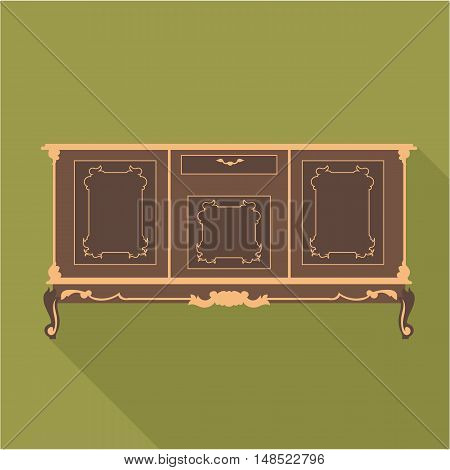Digital vector vintage green cabinet furniture, desk for home and office over khaki background, flat style