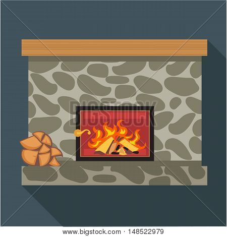 Digital vector fireplace room with burning wood, flat style